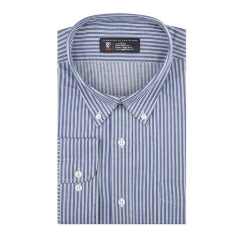CG Cotton Blue Heather Stripe Slim Fit Long Sleeve Men's Shirt