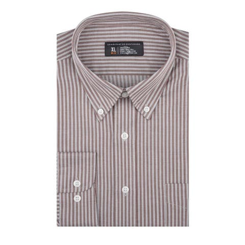 CG Cotton Brown Heather Stripe Slim Fit Long Sleeve Men's Shirt