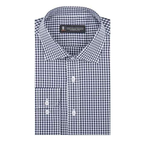 CG Cotton Navy and White Window Pane Slim Fit Long Sleeve Men's Shirt