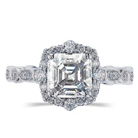 2.5ct TGW Vintage Asscher Cut Moissanite Engagement Ring 14 Karat White Gold