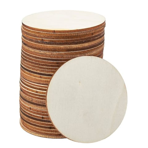 36-Pack Unfinished Round Natural Rustic Wooden Cutout Circle for DIY, 3-Inch