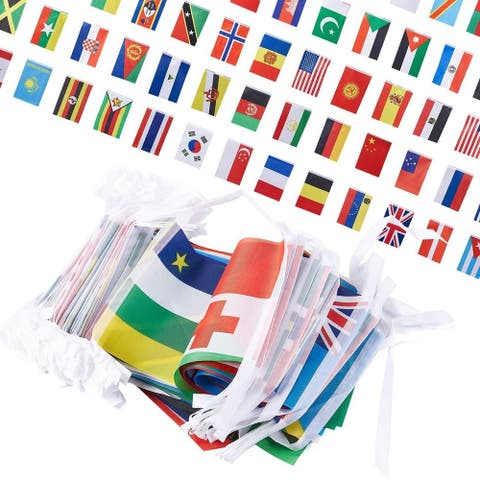 """250-Piece International Flags - 200-Feet Small Country Flag Banner, 5.2 x 8.5"""""""