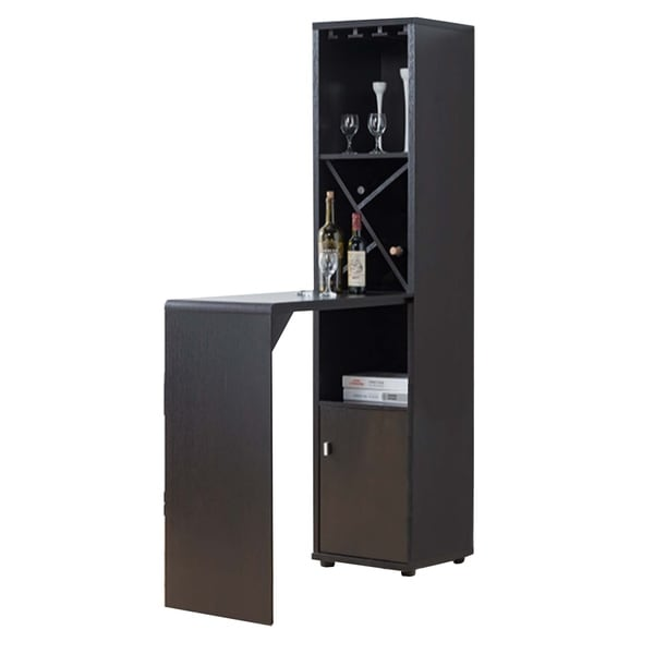 Wooden Wine Cabinet with Spacious Storage and Bar Table, Red Cocoa Brown