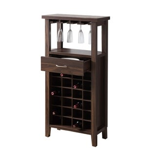 Wooden Wine Cabinet with one Drawer and Wine Compartment, Walnut Brown