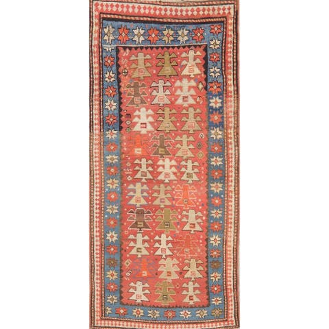 "Shabby Chic Hand Knotted Traditional Oriental Antique Russian Rug - 7' 3"" x 3' 3"" Runner"
