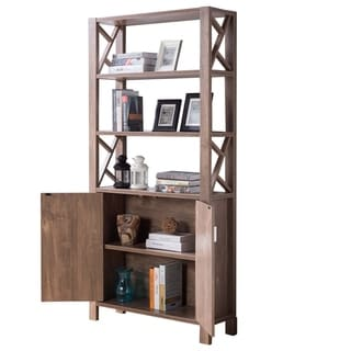 The Gray Barn Adirondack Wooden Bookcase with 3 Open Shelves and Double Door Cabinet