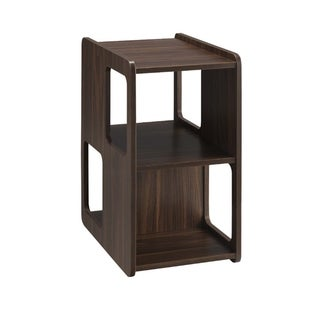 Cubicle Design Wooden Chairside Table with Three Open Compartment, Dark Brown