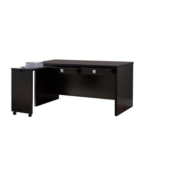 Spacious Wooden Desk with Two Drawers and Movable Return, Red Cocoa Brown