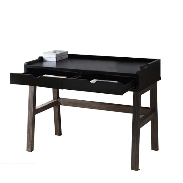 Dual Toned Wooden Desk with Two Sleek Drawers and Slightly Splayed Legs, Gray and Black