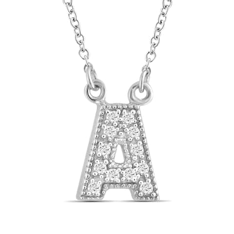 JewelonFire 1/10 Ctw A to Z Initials Necklace in Sterling Silver - Assorted color & Styles - White