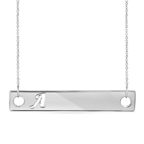 JewelonFire A to Z Initial Cut-out Plate Necklace in Sterling Silver - Assorted style & color