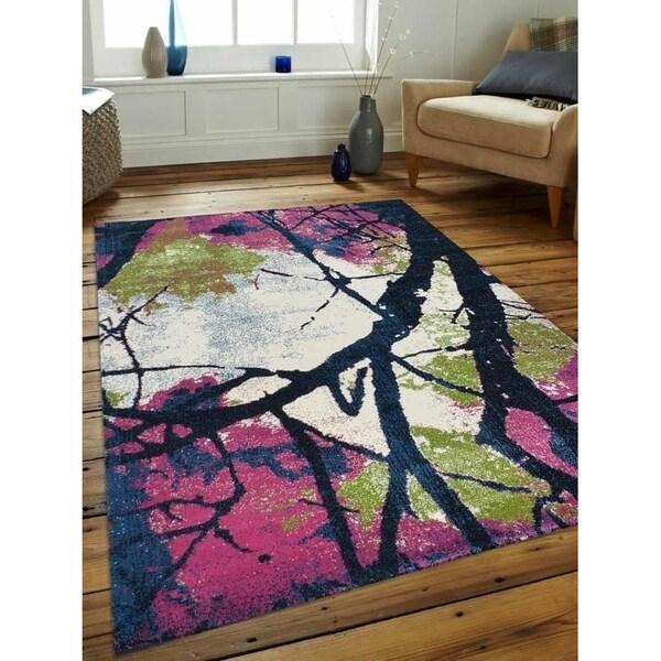 Modern Abstract Turkish Heatset Carpet Oriental Over Dyed Area Rug