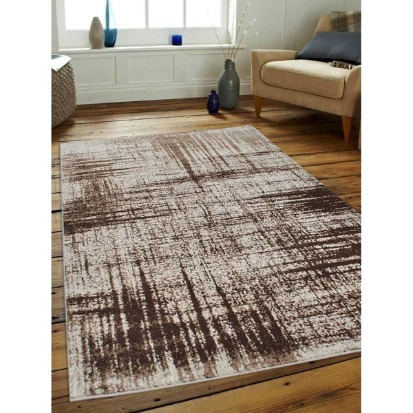 Contemporary Abstract Heatset Carpet Turkish Oriental Over Dyed Area Rug