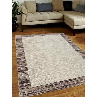 Modern Striped Heatset Carpet Bodered Turkish Oriental Over Dyed Area Rug