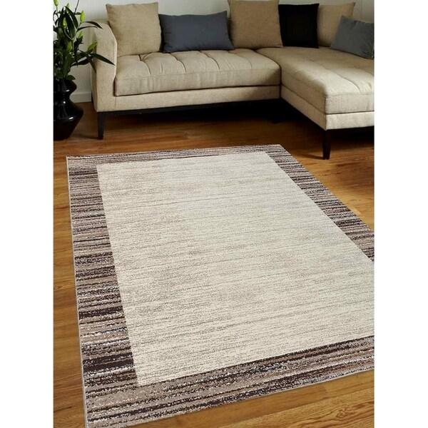 Modern Striped Heatset Carpet Bodered Turkish Oriental Over Dyed Area Rug