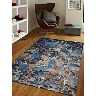 Tropical Botanical Heatset Carpet Turkish Oriental Over Dyed Area Rug