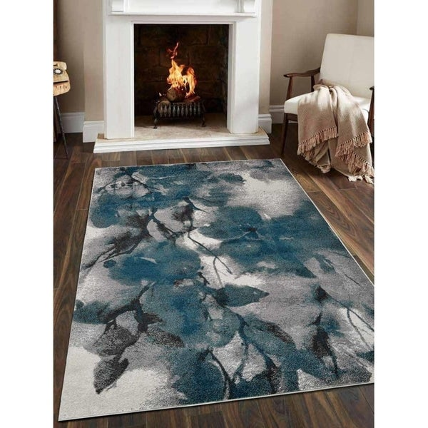 Modern Carpet Turkish Oriental Floral Heatset Over Dyed Area Rug