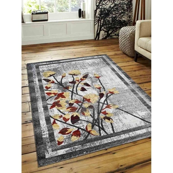 Modern Abstract Heatset Carpet Bordered Turkish Oriental Over Dyed Area Rug