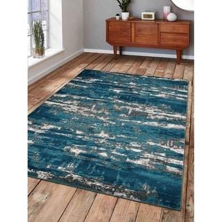 Heatset Abstract Carpet Turkish Oriental Modern Over Dyed Area Rug