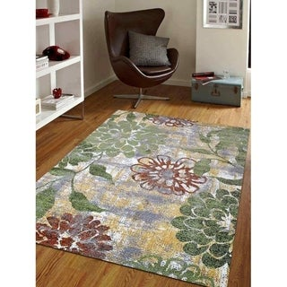 Floral Heatset Carpet Turkish Oriental Transitional Over Dyed Area Rug