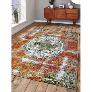 Modern Disstressed Carpet Turkish Oriental Medallion Overdyed Area Rug