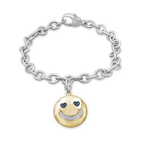 JewelonFire 1/20 Ct Blue & White Diamond Emoji Bracelet in 2-tone Silver