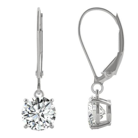 14k White Gold Moissanite by Charles & Colvard Round Leverback Drop Earrings 1.60 TGW