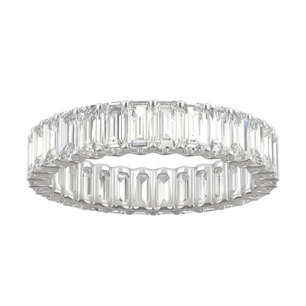 14k White Gold Moissanite by Charles & Colvard Emerald Cut Eternity Band 3.00 TGW. Opens flyout.