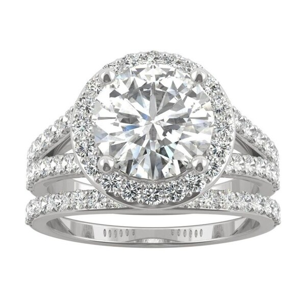 14k White Gold Moissanite by Charles & Colvard Split Shank Halo Bridal Set 3.69 TGW. Opens flyout.