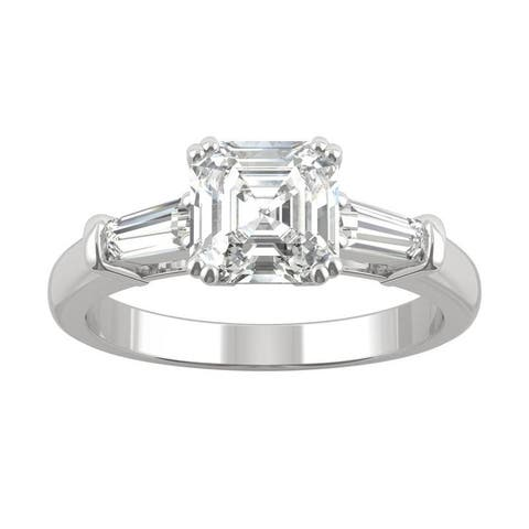 14k White Gold Moissanite by Charles & Colvard Asscher and Baguette Three Stone Ring 1.67 TGW