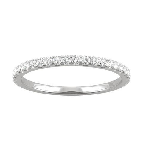 14k White Gold Moissanite by Charles & Colvard Wedding Band 0.39 TGW