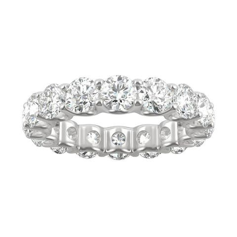 14k White Gold Moissanite by Charles & Colvard Round Eternity Band 5.28 TGW
