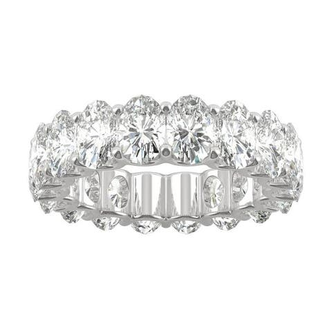 14k White Gold Moissanite by Charles & Colvard Oval Eternity Band 9.00 TGW