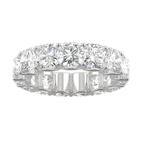 14k White Gold Moissanite by Charles & Colvard Cushion Eternity Band 9.00 TGW