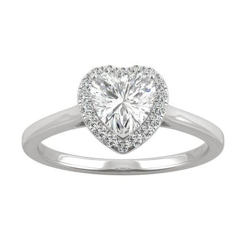 14k White Gold Moissanite by Charles & Colvard Heart Halo Ring 0.89 TGW