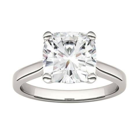 14k White Gold Moissanite by Charles & Colvard Cushion Solitaire Ring 3.30 TGW