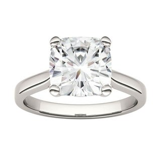 14k White Gold Moissanite By Charles Colvard Cushion Solitaire Ring 3 30 TGW