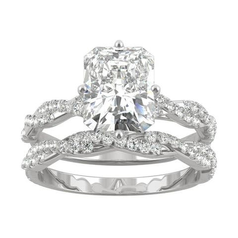 14k White Gold 3.42ct TGW Moissanite by Charles & Colvard Radiant Twisted Shank Bridal Set