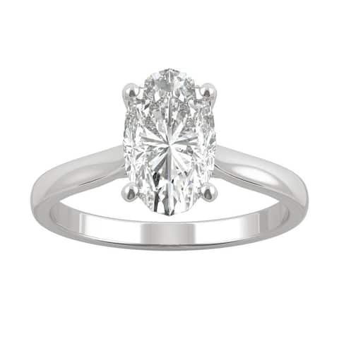 14k White, Yellow, or Rose Gold Moissanite by Charles & Colvard Elongated Oval Solitaire Ring 2.30 TGW