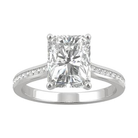 14k White Gold Moissanite by Charles & Colvard Radiant Engagement Ring 2.85 TGW