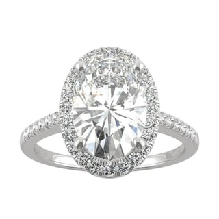Link to 14k White or Yellow Gold Moissanite by Charles & Colvard Elongated Oval Halo Engagement Ring 4.75 TGW Similar Items in Rings