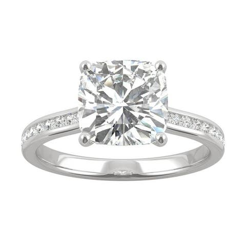 14k White Gold Moissanite by Charles & Colvard Channel Side Stone Cushion Ring 2.62 TGW