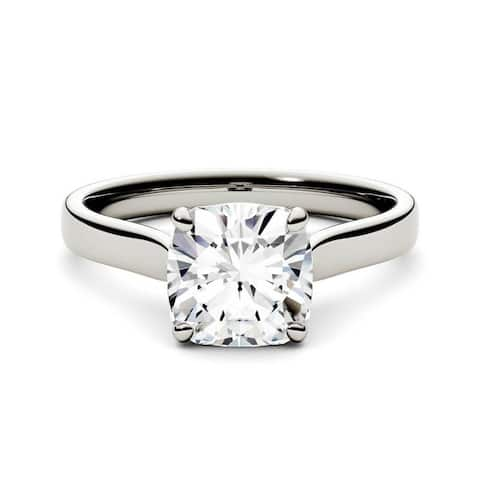 14k White, Yellow, or Rose Gold Moissanite by Charles & Colvard Cushion Solitaire Ring 2.00 TGW
