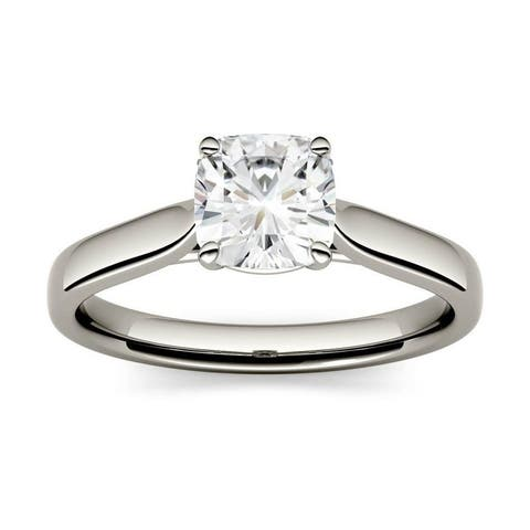 14k White, Yellow, or Rose Gold Moissanite by Charles & Colvard Cushion Solitaire Ring 1.10 TGW
