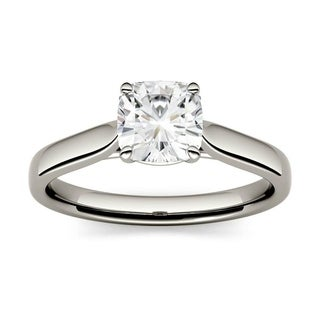14k White Yellow Or Rose Gold Moissanite By Charles Colvard Cushion Solitaire Ring 1 10 TGW