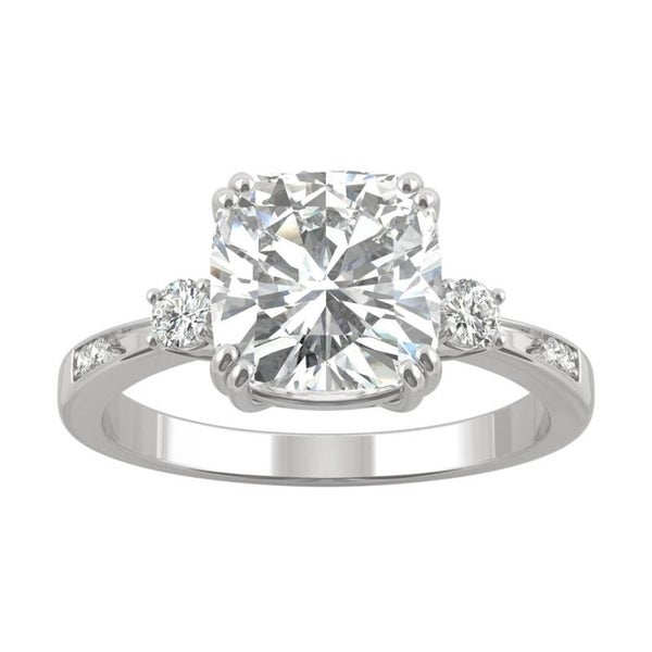 14k Gold Moissanite by Charles & Colvard Cushion Engagement Ring. Opens flyout.