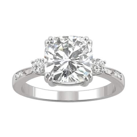 14k Gold Moissanite by Charles & Colvard Cushion Engagement Ring
