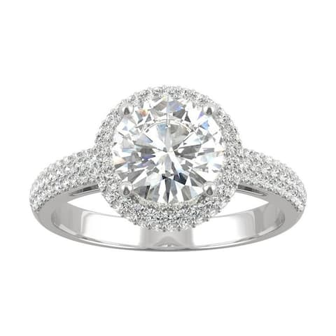 14k White Gold Moissanite by Charles & Colvard Round Three Row Pave Engagement Ring 2.15 TGW