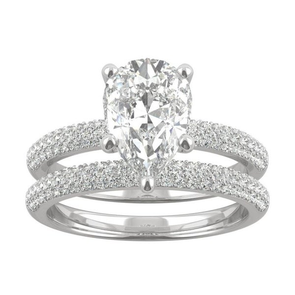 14k White Gold Moissanite by Charles & Colvard Pear Cut Pave Bridal Set 2.84 TGW. Opens flyout.