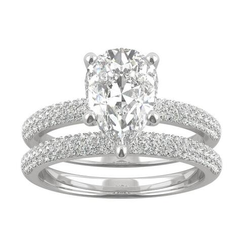 14k White Gold Moissanite by Charles & Colvard Pear Cut Pave Bridal Set 2.84 TGW